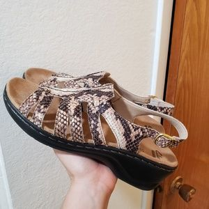 Clark's animal print sandals